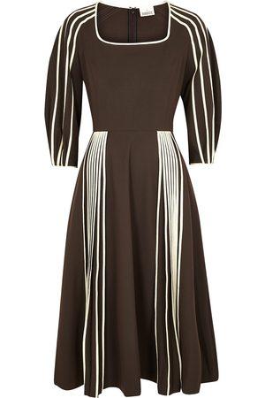 BODICE Dark striped woven midi dress