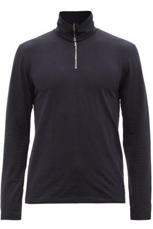 Jil Sander Zipped Roll-neck Cotton-blend Jersey Top - Mens - Dark Navy