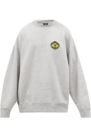 Balenciaga Logo-embroidered Oversized Jersey Sweatshirt - Mens - Grey