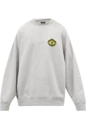 Balenciaga Men Sports Hoodies - Logo-embroidered Oversized Jersey Sweatshirt - Mens - Grey
