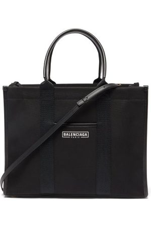 Balenciaga Women Purses - Neo Navy M Leather-trimmed Canvas Tote Bag - Womens