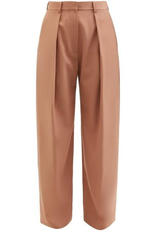 Victoria Beckham Wide-leg Pleated Twill Trousers - Womens - Camel