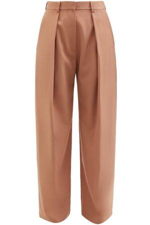 Victoria Beckham Women Wide Leg Pants - Wide-leg Pleated Twill Trousers - Womens - Camel