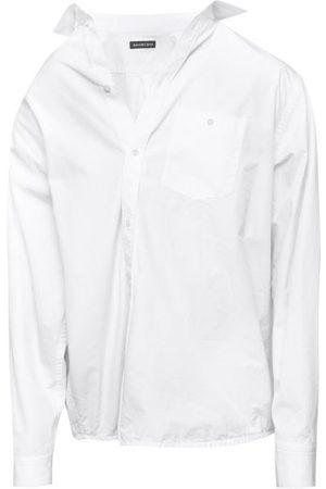Balenciaga Men Shirts - Asymmetric Creased Cotton-poplin Shirt - Mens