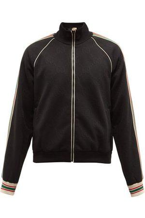 Gucci Web-stripe Gg-jacquard Zipped Jersey Track Jacket - Mens