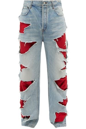 Balenciaga Men Wide Leg - Hybrid Distressed Wide-leg Jeans - Mens - Multi