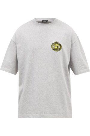Balenciaga Logo-embroidered Cotton-jersey T-shirt - Mens - Grey
