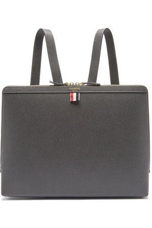 Thom Browne Men Rucksacks - Tricolour-stripe Pebbled-leather Backpack - Mens - Grey