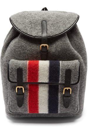 Thom Browne Men Rucksacks - Tricolour-stripe Wool-blend Felt Backpack - Mens - Grey