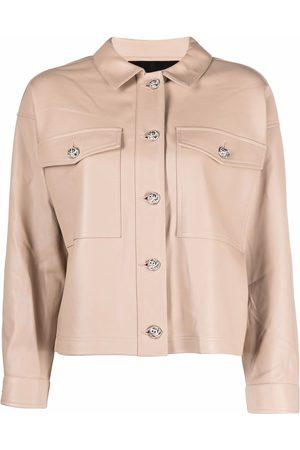 Philipp Plein Leather cropped shirt jacket - Neutrals
