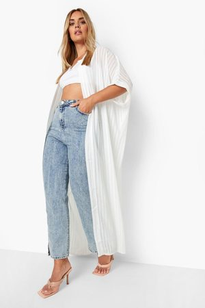 Boohoo Womens Plus Sheer Stripe Maxi Kimono - - 12