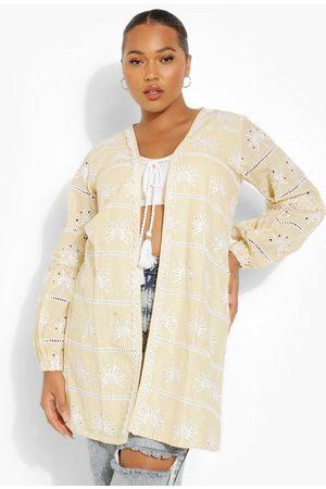Boohoo Womens Plus Embroidered Tassel Kimono - - 12