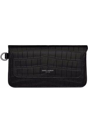 Saint Laurent Men Wallets - Crocodile-effect long leather wallet