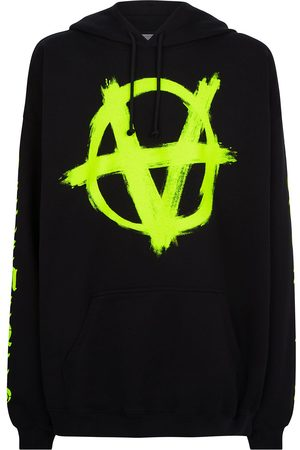 Vetements Men Hoodies - Anarchy drawstring jersey hoodie