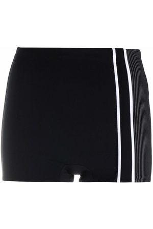NO KA' OI Women Shapewear - Pinstripe slim-cut shorts