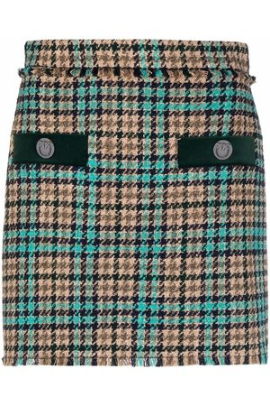 Pinko Women Printed Skirts - Houndstooth-pattern mini skirt - Neutrals