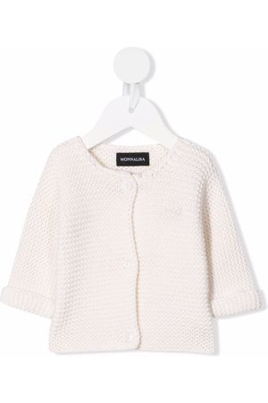 MONNALISA Embroidered-logo knit cardigan - Neutrals