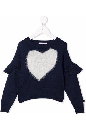 MONNALISA Girls Sweaters - Heart-print ruffled-trim jumper