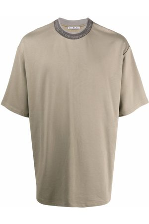 Acne Studios Men T-shirts - Logo binding crew-neck T-shirt - Neutrals
