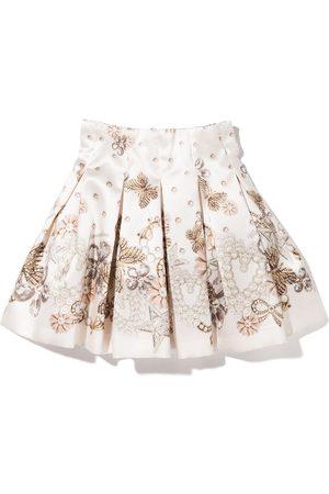 MONNALISA Graphic-print pleated short skirt - Neutrals