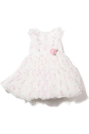 MONNALISA Rose applique tiered dress