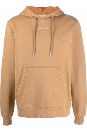 Sandro Embroidered logo cotton hoodie - Neutrals