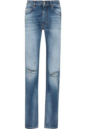 VERSACE Men Slim - Distressed ripped straight-leg jeans