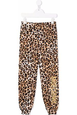 Moschino Boys Sports Pants - Logo leopard print tracksuit bottoms - Neutrals