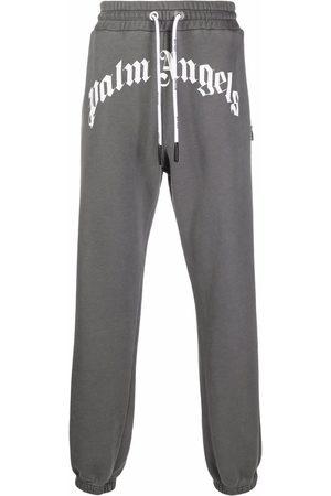 Palm Angels Men Sweatpants - GD CURVED LOGO SWEATPANTS BLACK WHITE - Grey