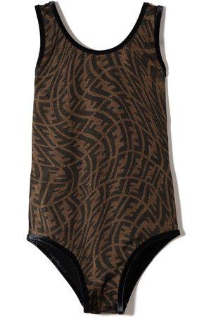 Fendi Girls Swimsuits - FF Vertigo print swimsuit