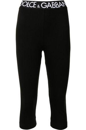 Dolce & Gabbana Women Leggings - Logo-waistband cropped leggings