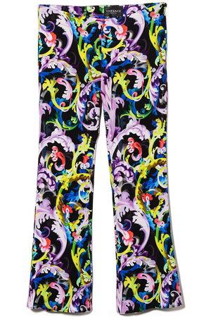 VERSACE Girls Leggings - Baroque-print flared leggings
