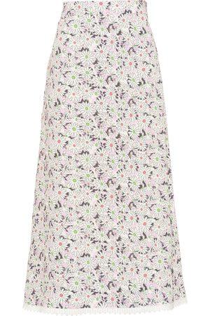 Miu Miu Women Printed Skirts - Floral-print mid-length skirt