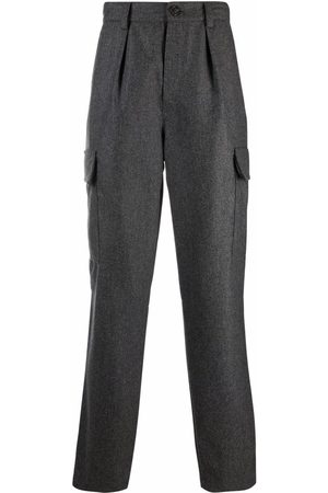 Brunello Cucinelli Men Formal Pants - High-rise tailored trousers - Grey