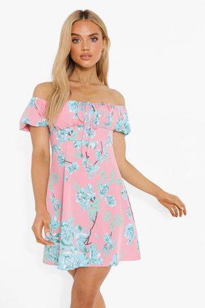 Boohoo Womens Floral Bardot Puff Sleeve Swing Dress - - 4
