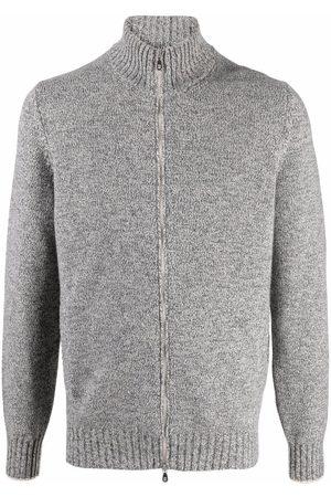 Brunello Cucinelli Men Long sleeves - Long-sleeve zip-up knitted jumper - Grey