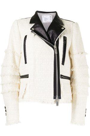 Sacai Women Leather Jackets - Padded tweed biker jacket