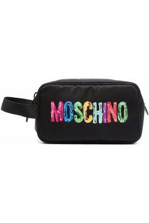 Moschino Men Toiletry Bags - Painted logo-print wash bag