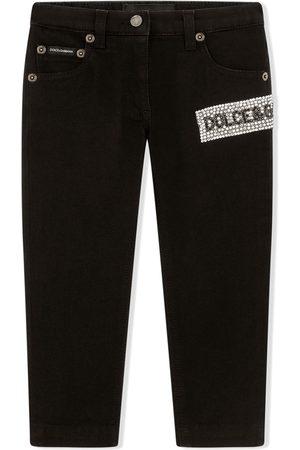 Dolce & Gabbana Girls Stretch - Embellished stretch-denim jeans