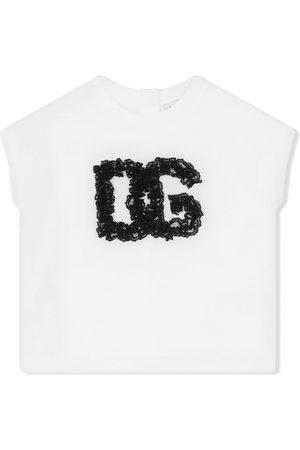 Dolce & Gabbana Kids Tops - Lace-logo cotton top