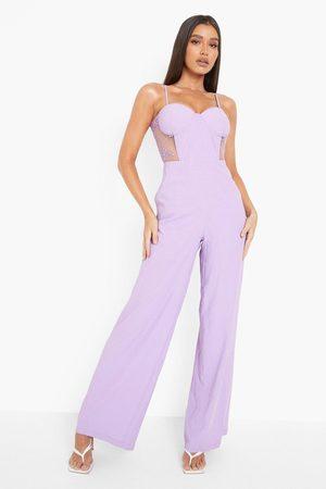 Boohoo Womens Contrast Lace Corset Wide Leg Jumpsuit - - 4