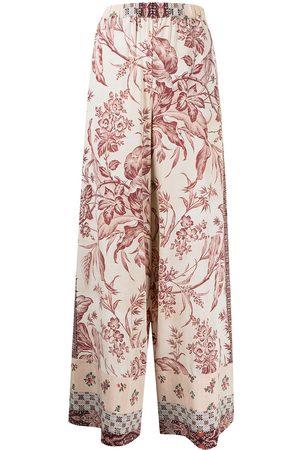 PIERRE-LOUIS MASCIA Patchwork-print wide-leg trousers - Neutrals