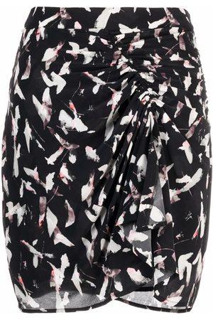 IRO Abstract-print draped skirt