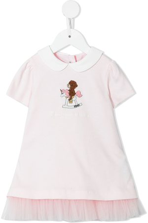 Fendi Baby Casual Dresses - Slogan-embroidered cotton dress