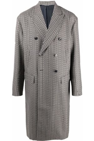 Valentino Men Coats - Houndstooth double-breasted coat - Grey