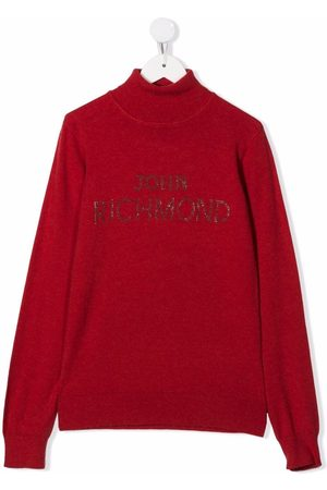 John Richmond Junior TEEN roll-neck embellished logo jumper
