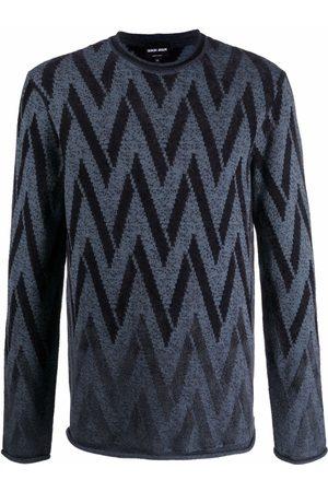 Armani Men Sweatshirts - Zigzag knit jumper