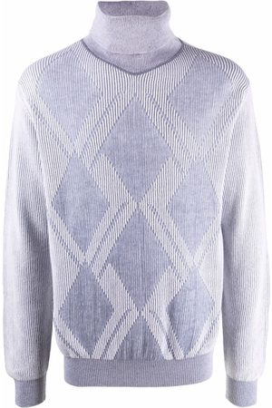 CANALI Men Turtlenecks - Argyle-knit roll-neck jumper
