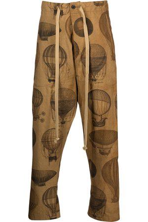 UMA WANG Men Pants - Hot air balloon-print drop-crotch trousers