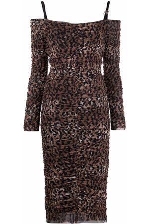 BLUMARINE Women Printed Dresses - Leopard-print off-shoulder dress